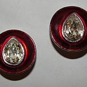 YSL Yves Saint Laurent Faceted Crystal Tear Drop Head Light Earrings Silvertone with Red Ename