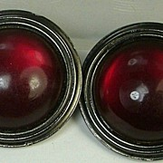 YSL Yves Saint Laurent Large Red Lucite Cabochon Gunmetal Earrings