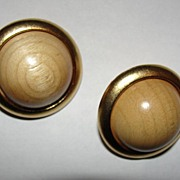 YSL Yves Saint Laurent Goldtone and Tan Wood Ball Earrings Safari Collection