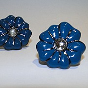 Blue and Black Enameled YSL Yves Saint Laurent Flower Earrings with Clear Glass Cabochon