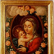 REDUCED 18th Century French Painting on panel Madonna with Holy Child