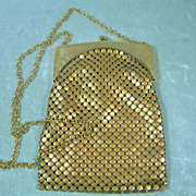 Vintage Whiting & Davis Gold-Tone Mesh Purse
