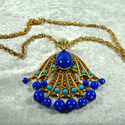 Vintage Hobe Large Faux Turquoise and Lapis Egyptian Bird Pendant Necklace