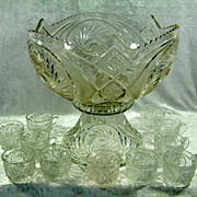 Vintage Pressed Glass Aztec Pinwheel Punch Bowl Stand and Cup Set
