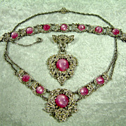 Elegant Vintage Rhinestone and Pink Moonglow Necklace Bracelet and Brooch