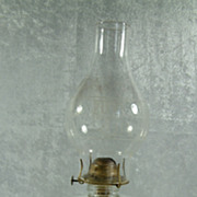Antique Hurricane Oil Lamp with Ribbed Base and Laurel Wreath Chimney