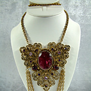 Huge Art Nouveau Amethyst Crystal Necklace