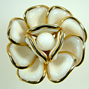 Vintage Trifari White Poured Glass Camellia Flower Pin/Pendant