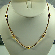 Vintage Gold-Tone Rope Chain Necklace with Beads
