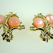 Vintage Coro Pink Moonglow and Rhinestone Clip Earrings