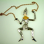 Vintage Polcini Articulated Asian/Siam Dancer Necklace