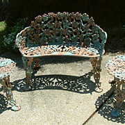 Vintage Cast Iron Grape Design Garden Settee and Two Tables
