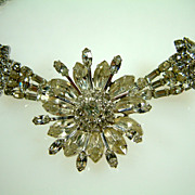 Stunning and Rare Vintage Lilly Dache Rhinestone Necklace