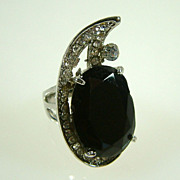 Large Vintage Black Crystal and Rhinestone Cocktail Ring Size 6-1/2
