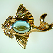 Vintage Blue Jelly Belly Fish Brooch