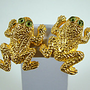 Large Vintage Margarita Barrera Gold-Tone Frog Clip Earrings
