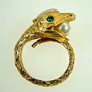 Vintage Gold-Tone Snake Ring with Faux Pearls and Emerald Rhinestones
