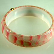 Vintage Pink Faux Snake Skin Bangle Bracelet Germany