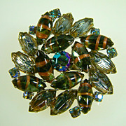 Vintage Art Glass and Rhinestone Brooch
