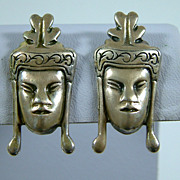 Vintage 1940's Sterling Silver Asian Face Screw Back Earrings