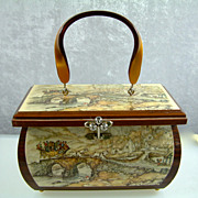 Vintage Anton Pieck Wooden Decoupage Purse