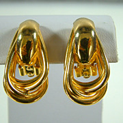 Vintage Gold-Tone Erwin Pearl Clip Earrings