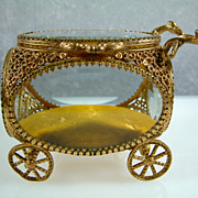 Vintage French Ormolu Carriage Jewelry Casket