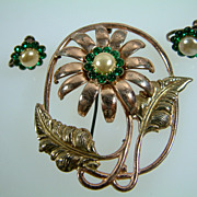 1940's Vintage Sterling Silver Vermeil and Rhinestone Brooch and Earring Set