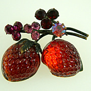 Vintage Austria Red Raspberry Fruit Pin