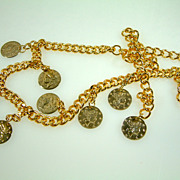 Vintage Gold-Tone Chain Belt or Necklace with Coin Dangles