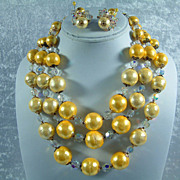 Vintage Vendome Golden Yellow and Crystal Bead Necklace and Earrings