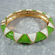 Vintage Mimi di N Green and White Enamel Bracelet