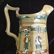 SALE Antique Buffalo Pottery Deldare Ware Pitcher The Vicar of Wakefield