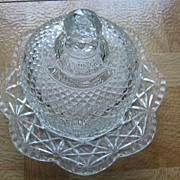 AVON Fostoria Crystal Two Piece Butter Dish - 1973 - Book Piece