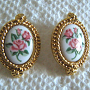 SALE AVON Pastel Lace with Roses Pierced Earrings - Book Piece