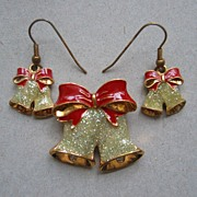 Avon Festive Holiday Bell Pin and Earrings Set -Book Piece