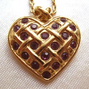 Avon Heart Shaped Ruby Rhinestones Neckace
