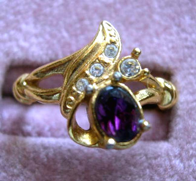AVON Faux Amethyst and Rhinestone Ring - Book Piece