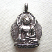 SALE Silver or Pewter Meditating Buddha Pendant
