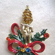 Candlestick Pin with Holly and Colored Rhinestones