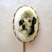White Grey Poodle Dog Face Stick Pin -  FREE SHIPPING! *