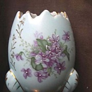SALE Half  Egg Three Footed Planter with Violets