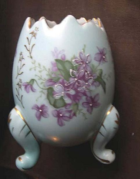 Half  Egg Three Footed Planter with Violets