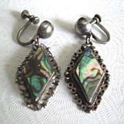Vintage AHS Plata Mexico Silver Abalone Dangle Earrings