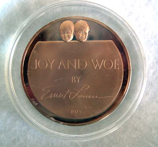 "Franklin Mint Sculptor Series - ""Joy and Woe"" Bronze Coin - 1973"