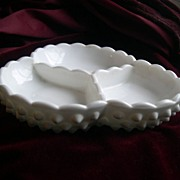 SALE Vintage Hobnail Milk Glass Candy Dish