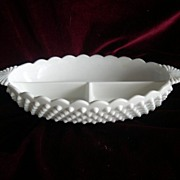 SALE FENTON Oval Milk Glass Divided Candy Relish Dish