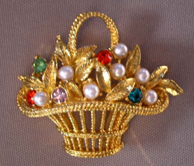 GERRY'S Basket Pin with Faux Pearls and Rhinestones