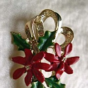 GERRYS Red Poinsettia & Ribbon Holiday Pin