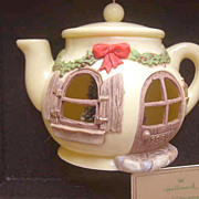 "SALE Hallmark ""A Spot of Christmas Cheer"" Teapot Ornament - 1980"